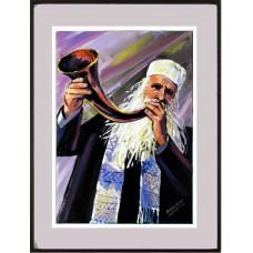 Shofar sendo tocado por um religioso